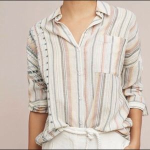 🌻NWOT ANTHROPOLOGIE Embroidered Stripe Top